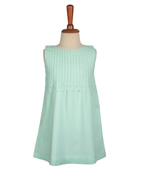 Pleated Embroidered A-Line Dress