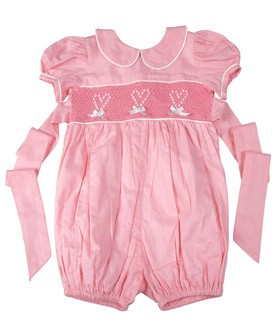 Girls Bubble With Smocked Hearts